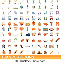 style, 100, sport, icônes, ensemble, dessin animé
