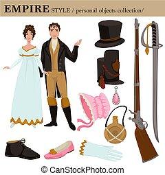 style, 17, siècle, vecteur, baroque, vêtements, européen