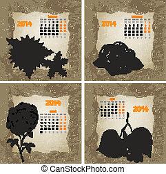 style, 2014, (january, vendange, année, main, 1, calendar., flowers., vecteur, encre, dessiné, partie, février, mars, april)
