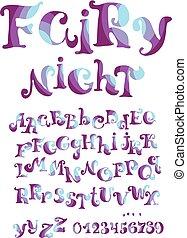 style, abc, illustration., gosses, set., conte, vecteur, conception, enfant, fée, lettering., alphabit, éléments