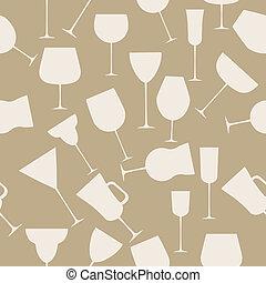 style, alcoolique, vendange, seamless, illustration, vecteur, verre., retro, modèle fond
