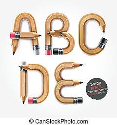 style., alfabeto, madeira, vetorial, lápis
