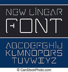 style, alphabet, -, police, linéaire, vecteur, simple, ligne, minimalistic