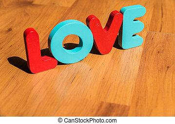 style, amour, clair, plancher bois, laminate, mot