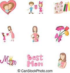 style, amour, icônes, ensemble, mère, dessin animé
