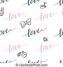 style, amour, modèle, seamless, signe, hipster, dessiné, main