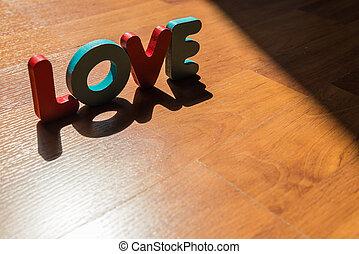style, amour, plancher, bois, laminate, 3, ombre, mot, ombre