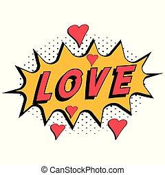style, amour, texte, pop, halftone, fond, vecteur, parole, expression, mot, cœurs, art, comique, bulle, livre