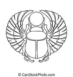 style, ancien, contour, icône, egypte, symbole, isolé, scarabée, arrière-plan., vecteur, blanc, stockage, illustration.