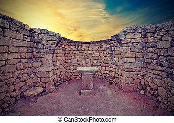 style, ancien, vendange, autel, ruines, sunset.