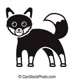 style, animaux, illustration., symbole, renard, isolé, arrière-plan., vecteur, noir, blanc, icône, stockage