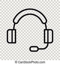 style., arrière-plan., business, opérateur, bavarder, casque, helpdesk, vecteur, icône, concept., plat, isolé, blanc, illustration