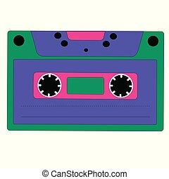 style, arrière-plan., cassette, isolé, dessin animé, blanc, retro