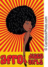 style, art, filles, disco, vecteur, afro