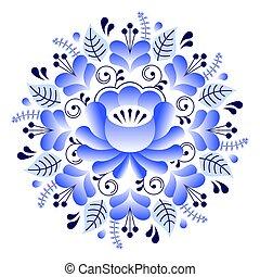 style, art, inspiré, modèle, stylique floral, gzhel, russe, folklorique, céramique