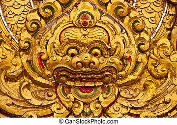 style, art, moulure, mur, thaï, temple