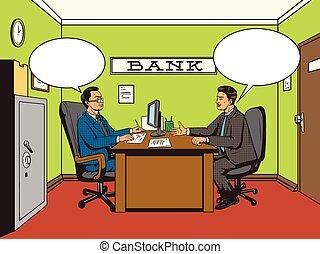 style, art, pop, vecteur, retro, homme affaires, banque
