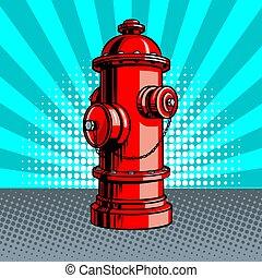 style, art, prise eau, brûler, pop, vecteur, illustration