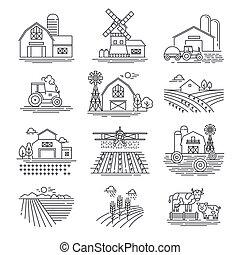 style, bâtiments., icônes, ferme, champs, concept., ...