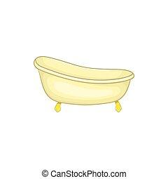 style, baignoire, dessin animé, icône