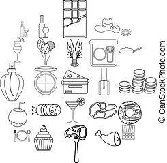 style, balle, contour, icônes, danse, ensemble