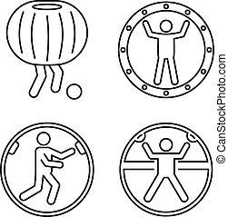 style, balle, contour, icônes, ensemble, zorb, activité