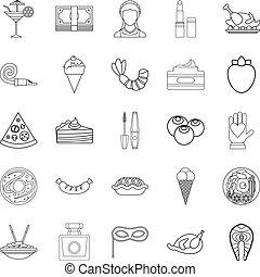 style, balle, contour, icônes, mascarade, ensemble