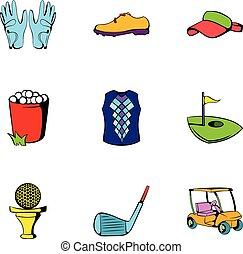 style, balle, golf, icônes, ensemble, dessin animé