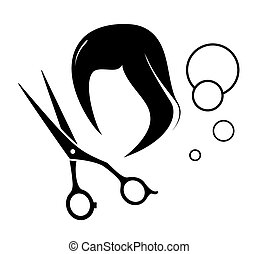 barber icon with tools and wig silhouette