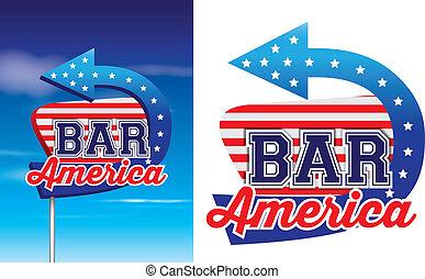 style, barre, vendange, américain, signage, roadsie