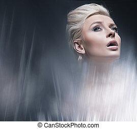 style, beauté, moderne, jeune, portrait, blond