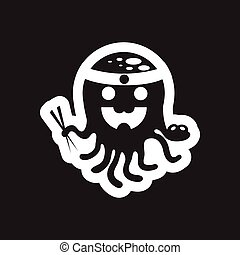 style black and white icon Octopus chef