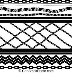 style., blanc, noir, seamless, ethnique