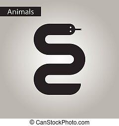 style, blanc, serpent noir, icône