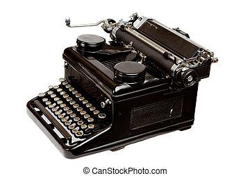 style, blanc, vieux, isolé, machine écrire