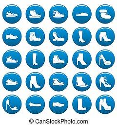 style, bleu, chaussures, ensemble, chaussures, icônes simples