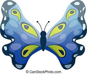 style, bleu, papillon, dessin animé, icône