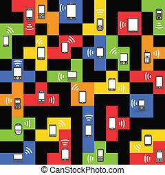 style, blocs, mobile, vendange, résumé, moderne, gadgets, couleur
