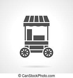 style, bonbon, vecteur, charrette, icône, glyph, coton