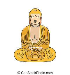 style, bouddha, dessin animé, illustration