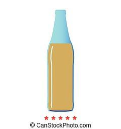 style, bouteille, icône, bière, plat