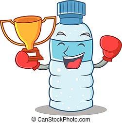 style, boxe, gagnant, caractère, bouteille, dessin animé