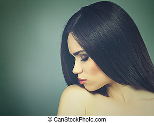 style, brunette, girl., portrait., mode, vogue, femme