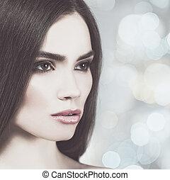 style, brunette, girl., sur, résumé, mode, vogue, femme, portrait, backgrounds.