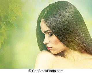 style, brunette, naturel, girl., sur, mode, vogue, femme, portrait, vert, backgrounds.