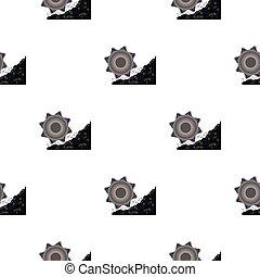 style, bucket-wheel, illustration., excavateur, modèle, isolé, mine, arrière-plan., vecteur, blanc, icône, dessin animé, stockage