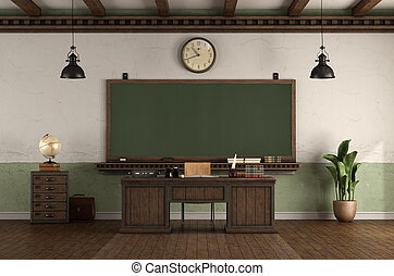 style, bureau, classe, tableau noir, retro, professeur, vide