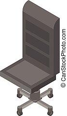 style, bureau, cuir, isométrique, icône, chaise