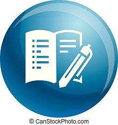 style, bureau, simple, livre, icône, ouvert