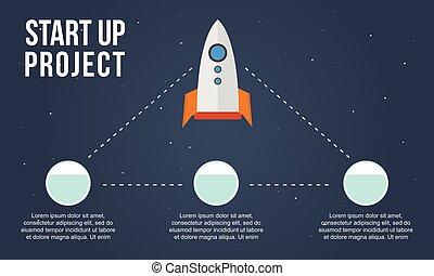 style, business, haut, projet, début, infographic